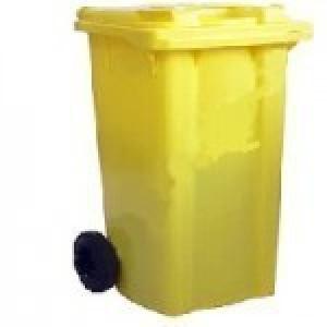 سطل زباله چرخدار 240 لیتری زرد IESA